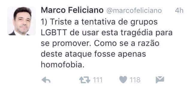 Tweet público de Marco Feliciano