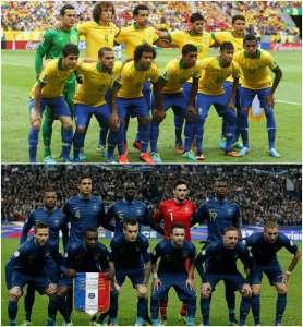 Seleções do Brasil, em 2013, e da França, em 2014. http://latino.foxnews.com/latino/sports/2014/05/02/world-cup-2014-brazil-team-profile/ e http://www.fifa.com/worldcup/archive/brazil2014/photos/index.html