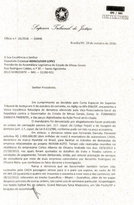 Denúncia do MPF encaminhada ao presidente da ALMG, deputado Adalclever Lopes (PMDB) por meio de ofício (Reprodução)