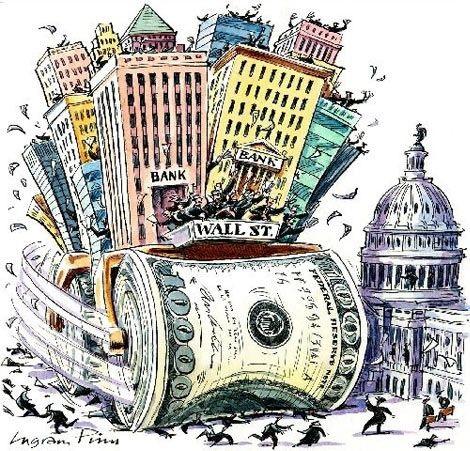 O centro financeiro de Wall Street caricaturado (Reprodução: streetdemocracy.wordpress.com)