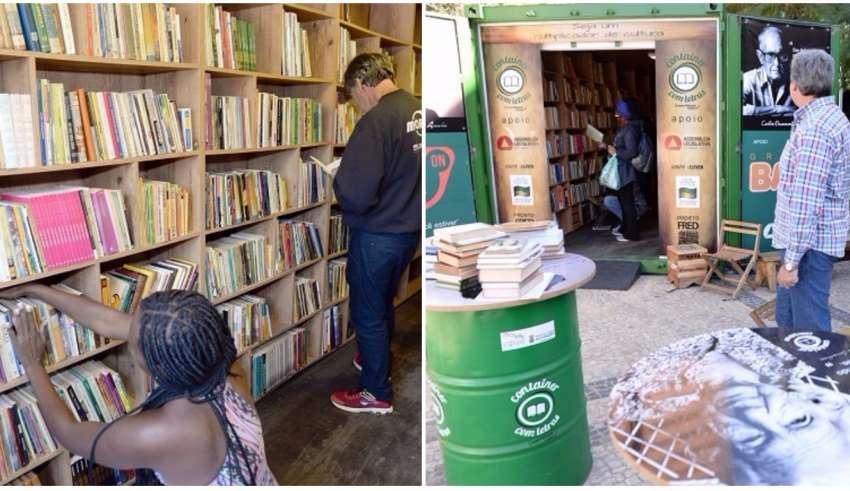 container com livros