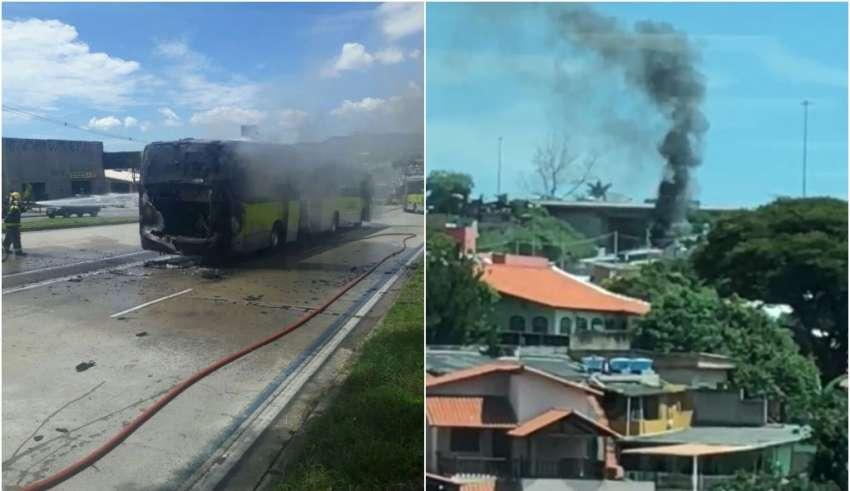 Ônibus pega fogo na avenida Antônio Carlos e complica trânsito