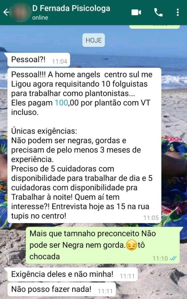 vaga racista  641x1024 - Empresa exige que cuidadoras de idosos não sejam 'negras e gordas' e provoca revolta: 'Fiquei desesperada'