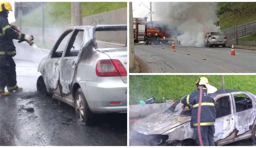 Carro de passeio pega fogo no Buritis
