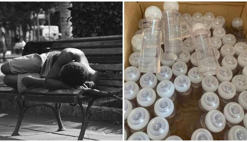 Produtos de higiene pessoal doados moradores em situação de rua