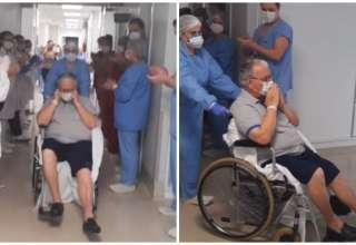 idoso é aplaudido ao deixar hospital