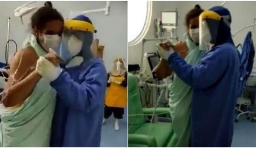 médico dança paciente coronavírus