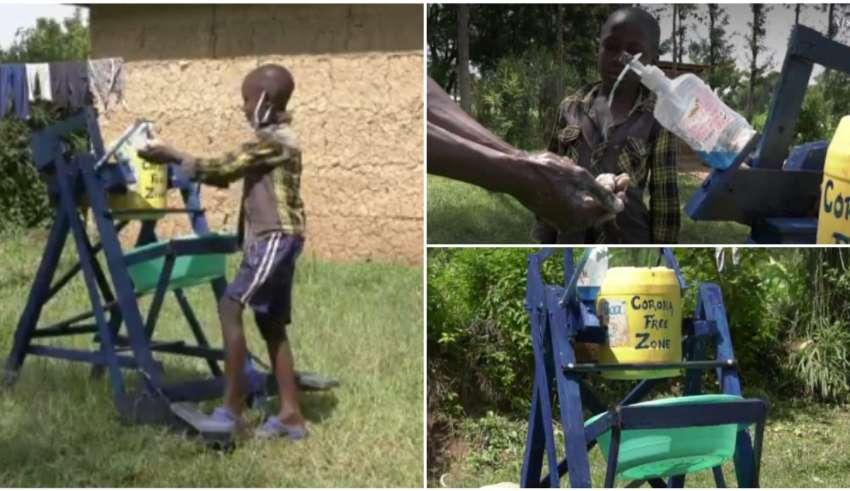 Steve Wamukota lavar mãos
