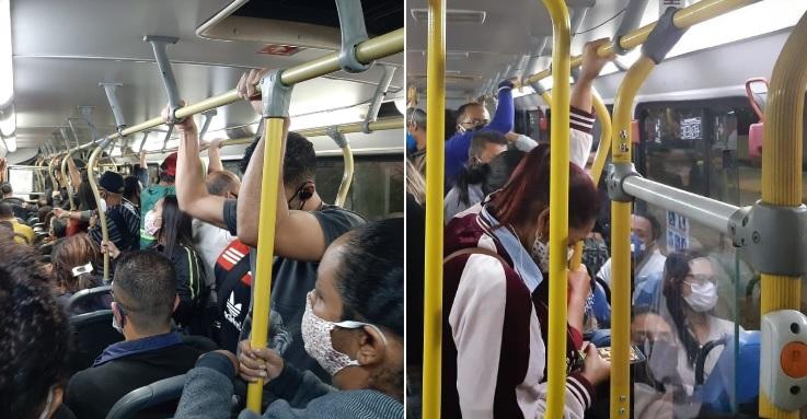 Ônibus estão circulando lotados mesmo com a pandemia
