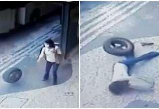 mulher atingida pneu rj