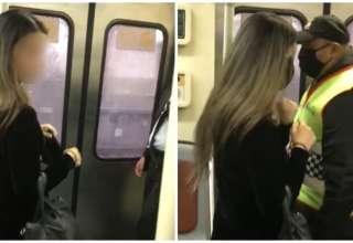 mulher trem máscara