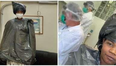 dentista veste mulher com sacos de lixo