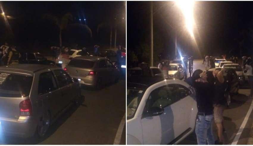 Guardas agindo para acabar com aglomeração e encontro de carros em Contagem