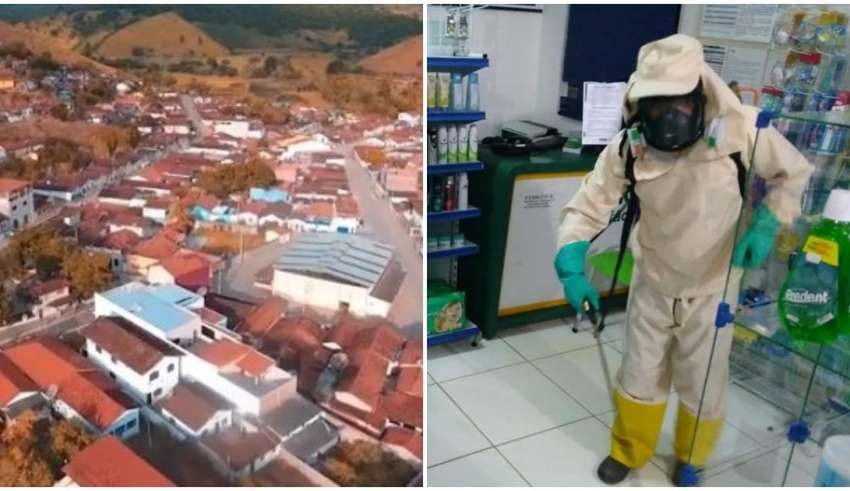 Cidade de Bandeira e funcionário fazendo desinfecção de comércio