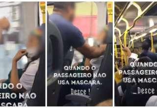 briga mulher suposto policial ônibus