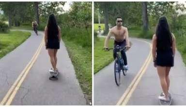 ciclista cuspindo mulher