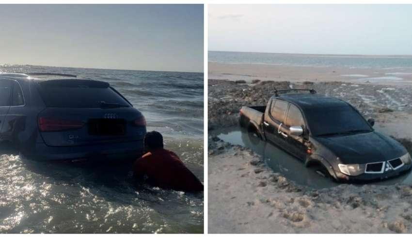 Carros levados pela maré no Pará