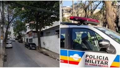 Rua Mangabeiras e viatura da Polícia Militar