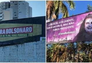 Outdoor com críticas a Bolsonaro em Montes Claros