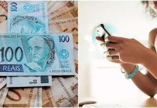 dinheiro mulher celular