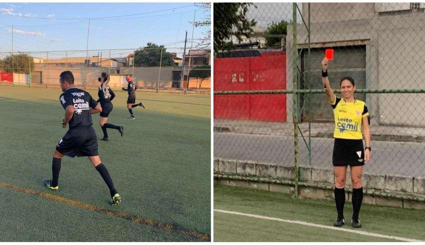 Árbitros da FMF participando de treino físico em campo, em Contagem