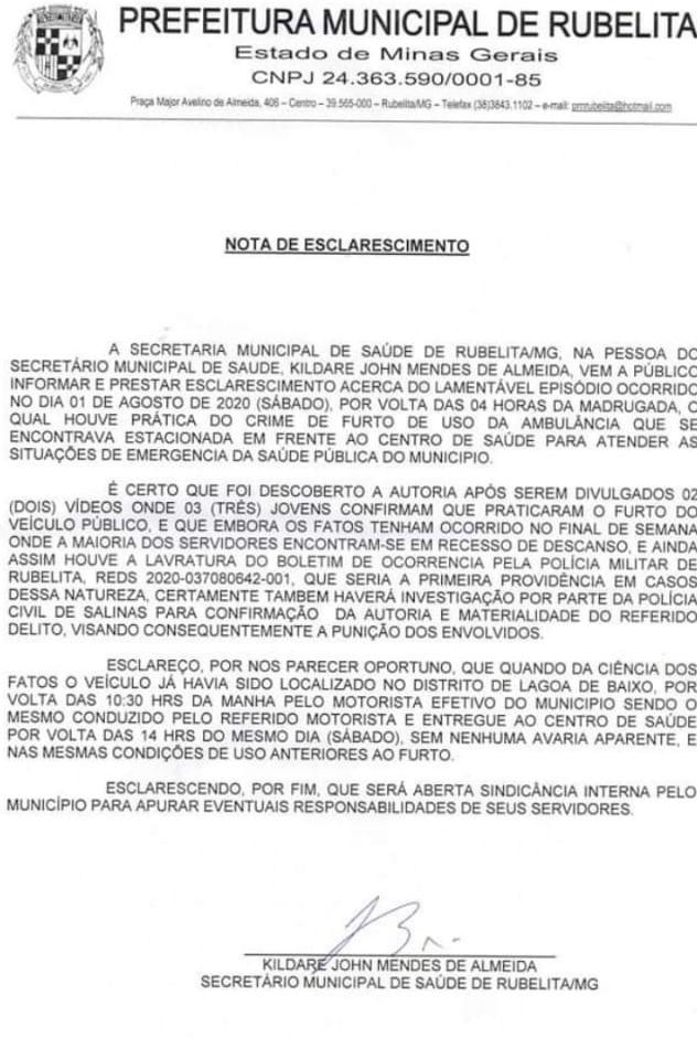 nota prefeitura de Rubelita