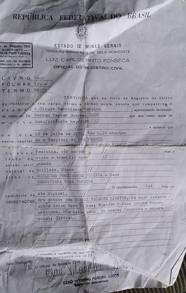 certidão óbito Anelita Poncidônio Ribeiro