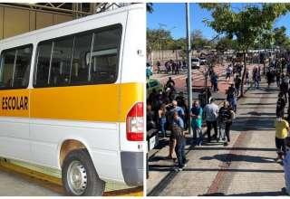 van escolar protesto dos motoristas