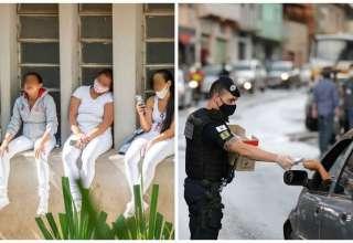 Pessoas sem máscara em BH e Guarda Municipal abordando motorista