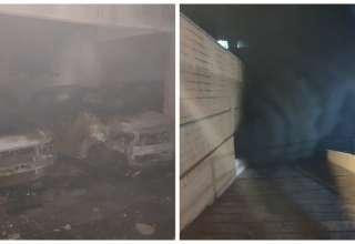 Carros queimados incêndio em condomínio