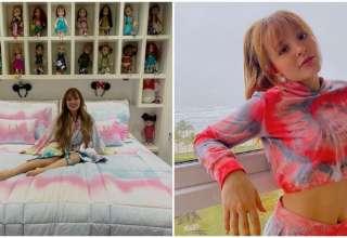Larissa Manoela no quarto com as bonecas e Larissa Manoela posando na varanda