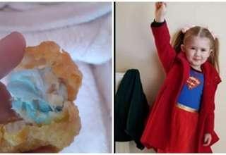 nuggets com mascara e criança