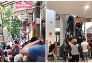 Aglomeração em ruas de BH e em shopping