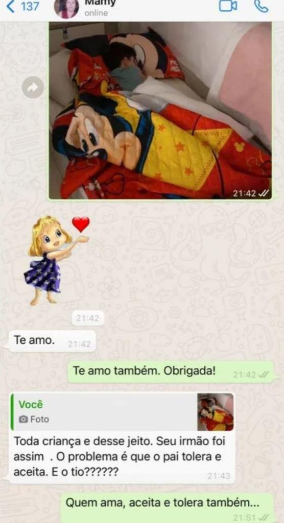 mensagem whatsapp entre mãe e avó de henry